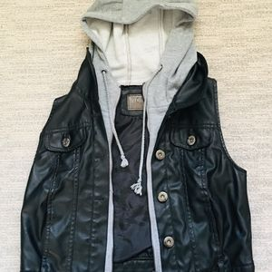 Ci Sono Leather Vest with Hoodie
